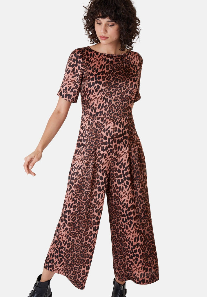 Traffic People Leopard Print Short Sleeve Bianca Jumpsuit in Pink Side View Image