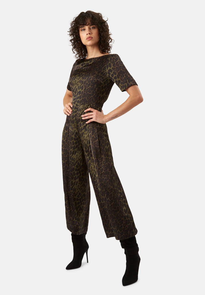 Traffic People Leopard Print Satin Bianca Jumpsuit in Green Front View Image