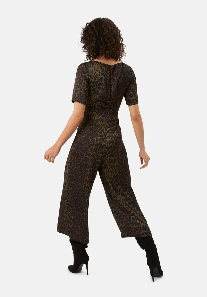 Traffic People Leopard Print Satin Bianca Jumpsuit in Green Back View Image
