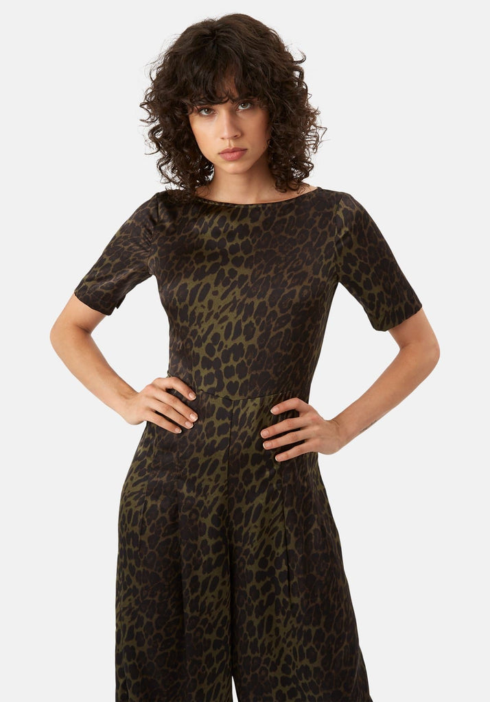 Traffic People Leopard Print Satin Bianca Jumpsuit in Green Side View Image