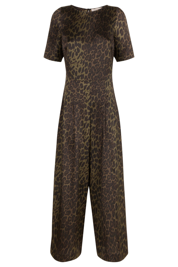 Traffic People Leopard Print Satin Bianca Jumpsuit in Green FlatShot Image