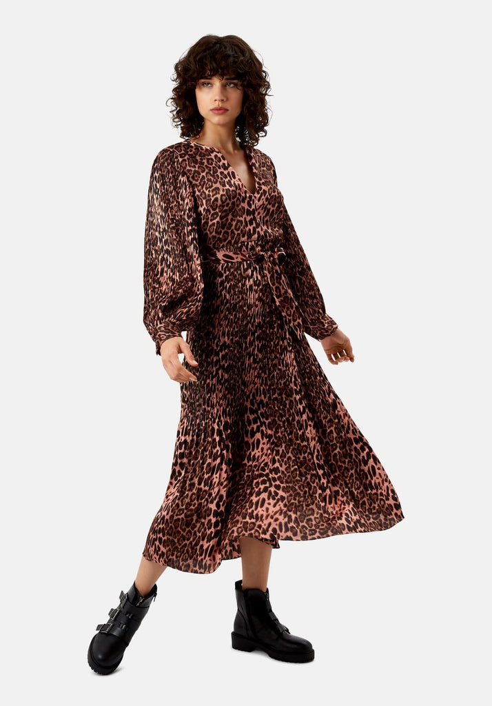 Traffic People Pleated Fallen Maxi Dress in Pink Leopard Print Front View Image