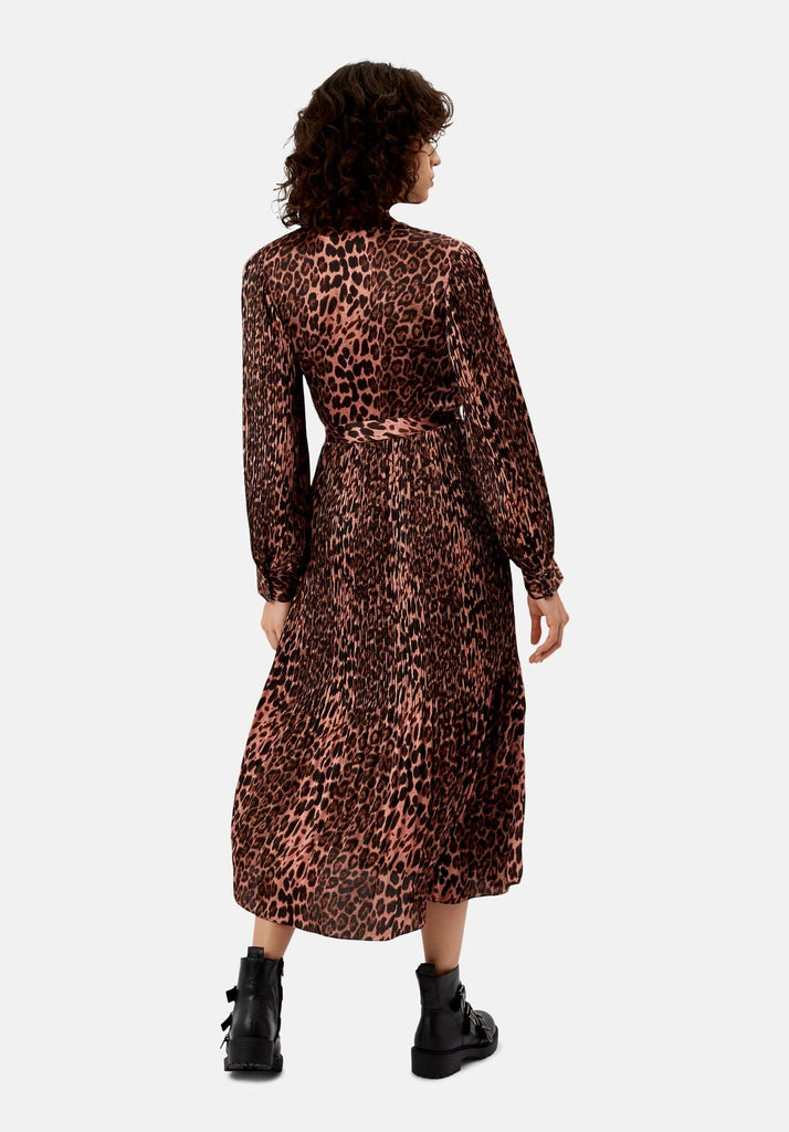 Traffic People Pleated Fallen Maxi Dress in Pink Leopard Print Back View Image