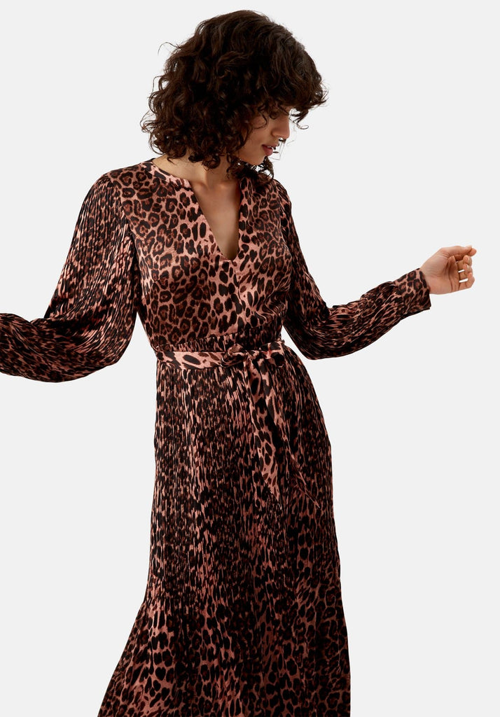 Traffic People Pleated Fallen Maxi Dress in Pink Leopard Print Side View Image
