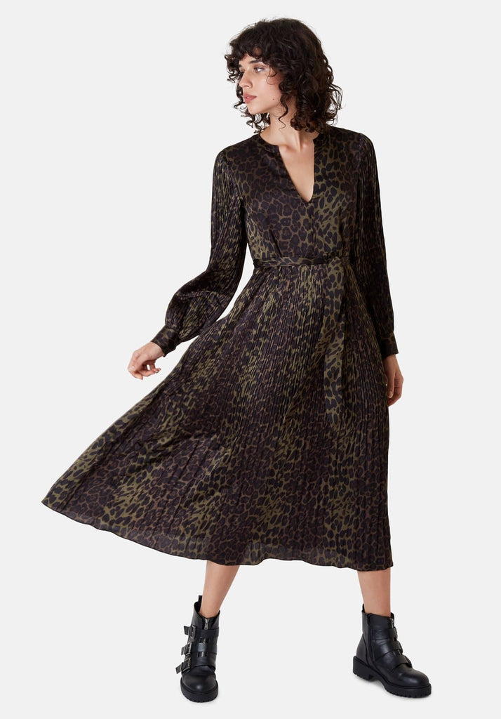 Traffic People Long Sleeved Fallen Maxi Dress in Green Leopard Print Side View Image