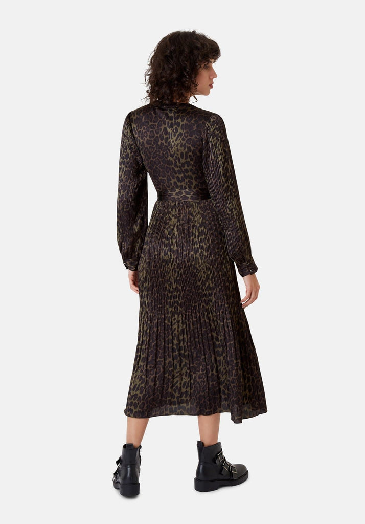 Traffic People Long Sleeved Fallen Maxi Dress in Green Leopard Print Back View Image