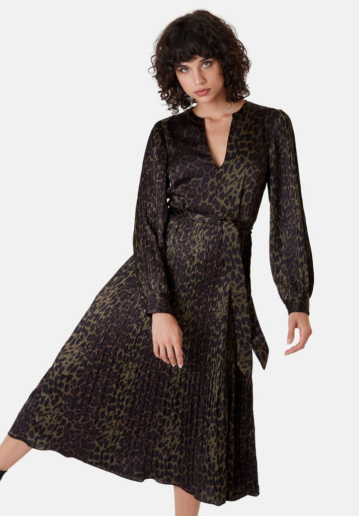 Traffic People Long Sleeved Fallen Maxi Dress in Green Leopard Print Front View Image