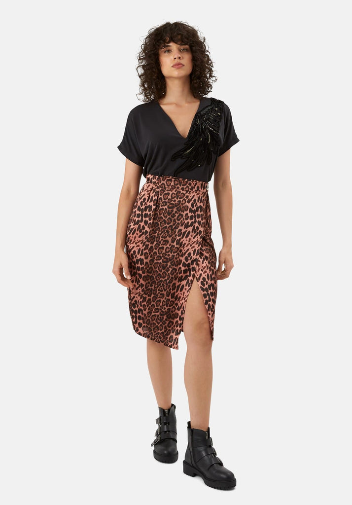 Traffic People Jungle Midi Wrap Skirt in Pink Leopard Print Front View Image