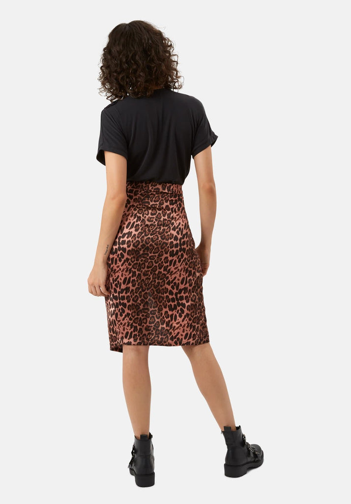 Traffic People Jungle Midi Wrap Skirt in Pink Leopard Print Back View Image