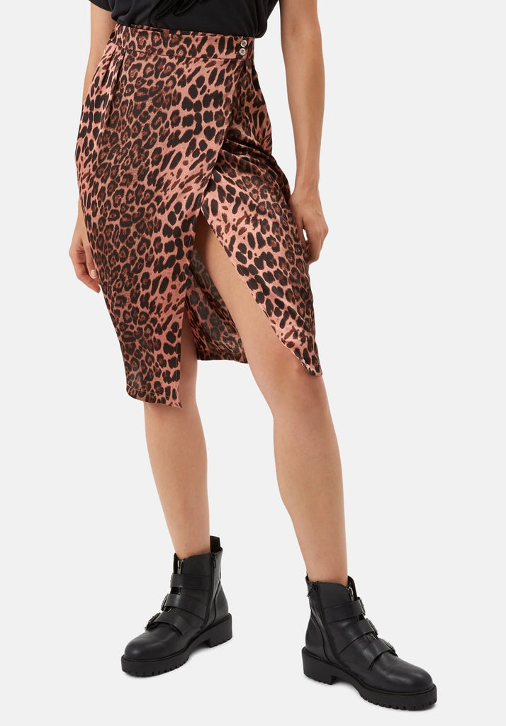 Traffic People Jungle Midi Wrap Skirt in Pink Leopard Print Side View Image