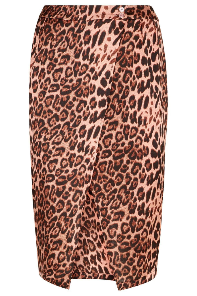 Traffic People Jungle Midi Wrap Skirt in Pink Leopard Print FlatShot Image