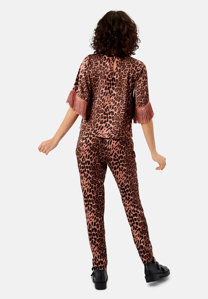 Traffic People Leopard Print Satin Fringe Sleeve Top in Pink Side View Image