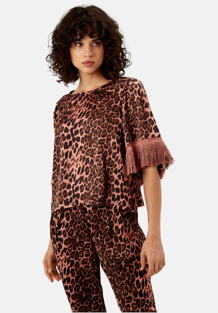 Traffic People Leopard Print Satin Fringe Sleeve Top in Pink Front View Image