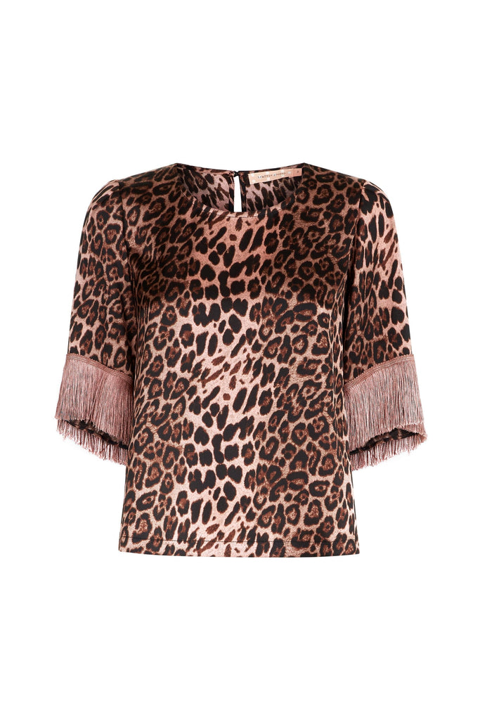 Traffic People Leopard Print Satin Fringe Sleeve Top in Pink FlatShot Image