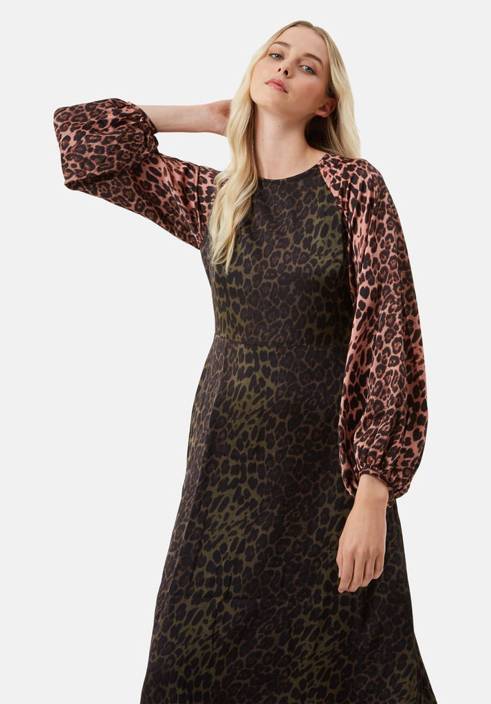Traffic People Jungle Mixup Midi Dress in Green Leopard Print Front View Image