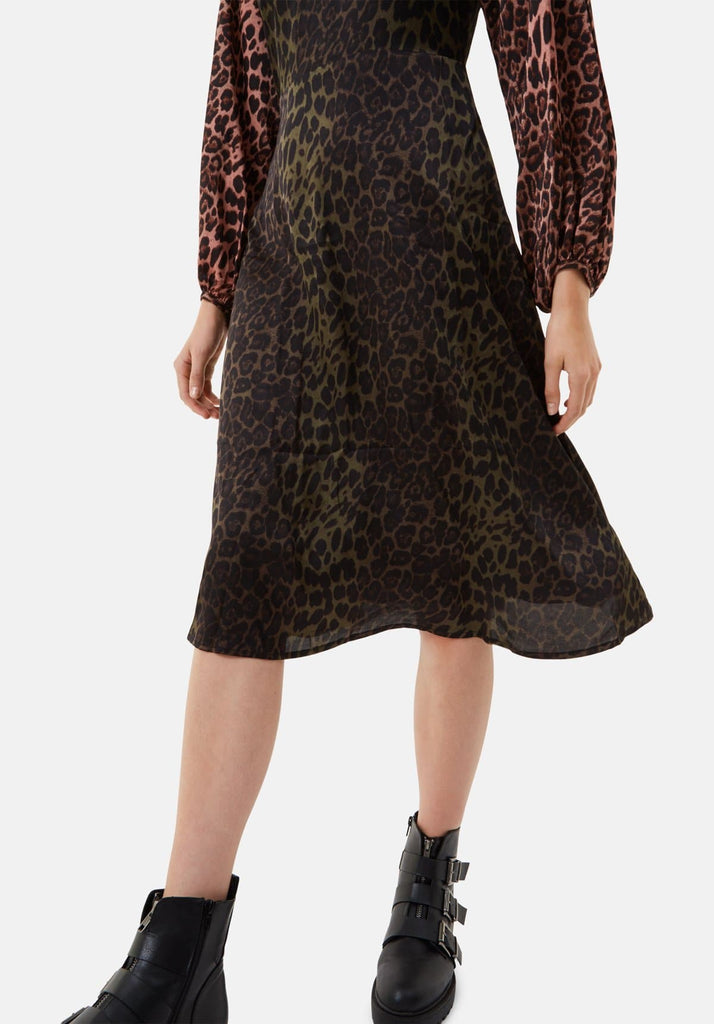 Traffic People Jungle Mixup Midi Dress in Green Leopard Print Close Up Image
