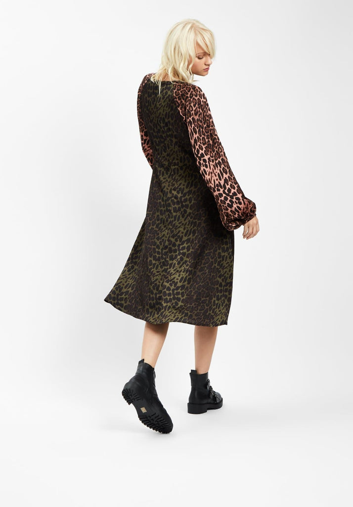 Traffic People Jungle Mixup Midi Dress in Green Leopard Print Back View Image