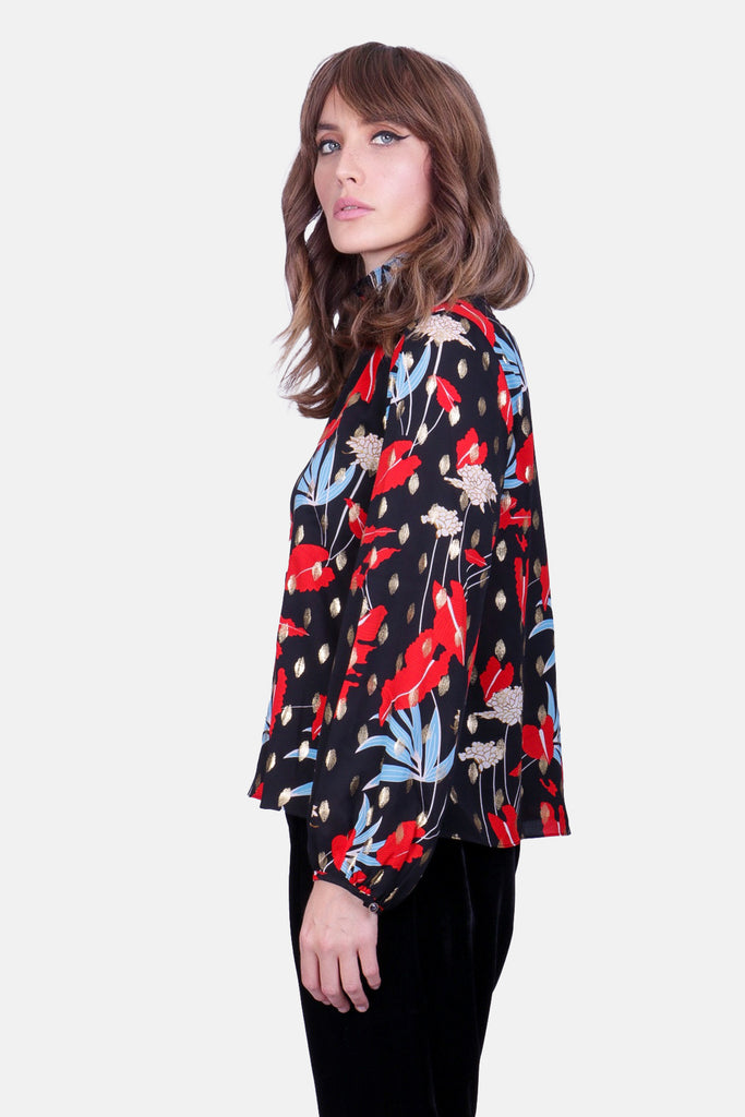 Traffic People Floral Printed Long Sleeve Choir Blouse in Black Back View Image