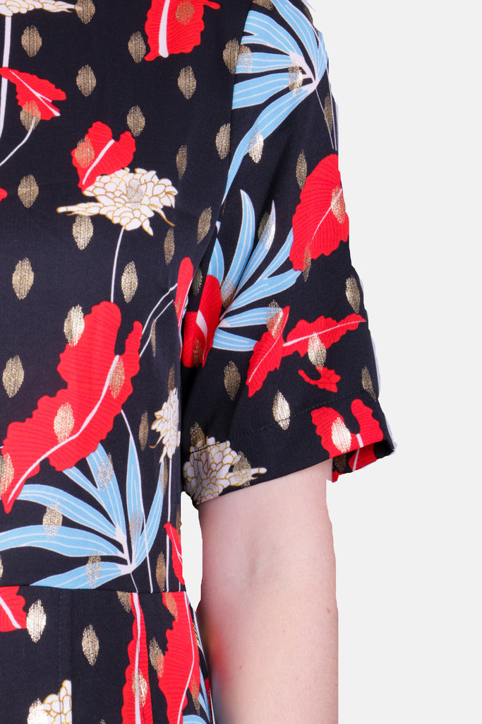 Traffic People Floral Printed Short Sleeve Bianca Jumpsuit Back View Image