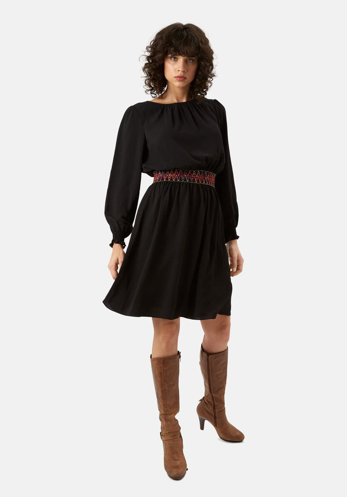 Traffic People Mini Trim Long Sleeve Dress in Black Front View Image