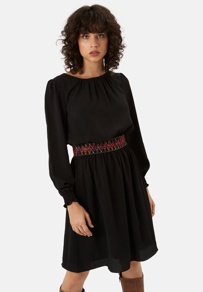 Traffic People Mini Trim Long Sleeve Dress in Black Side View Image