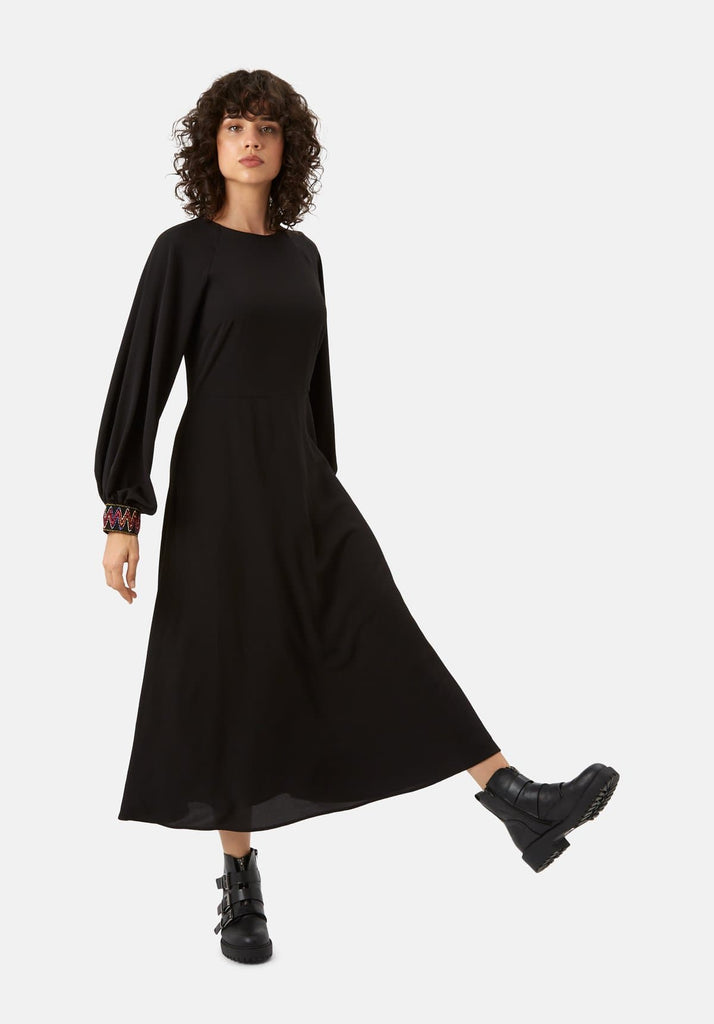 Traffic People On The Cuff Embroidered Midi Dress in Black Front View Image