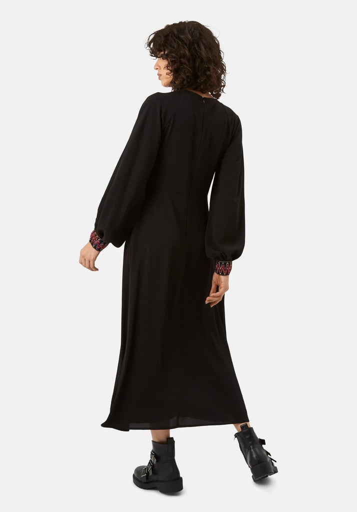 Traffic People On The Cuff Embroidered Midi Dress in Black Side View Image