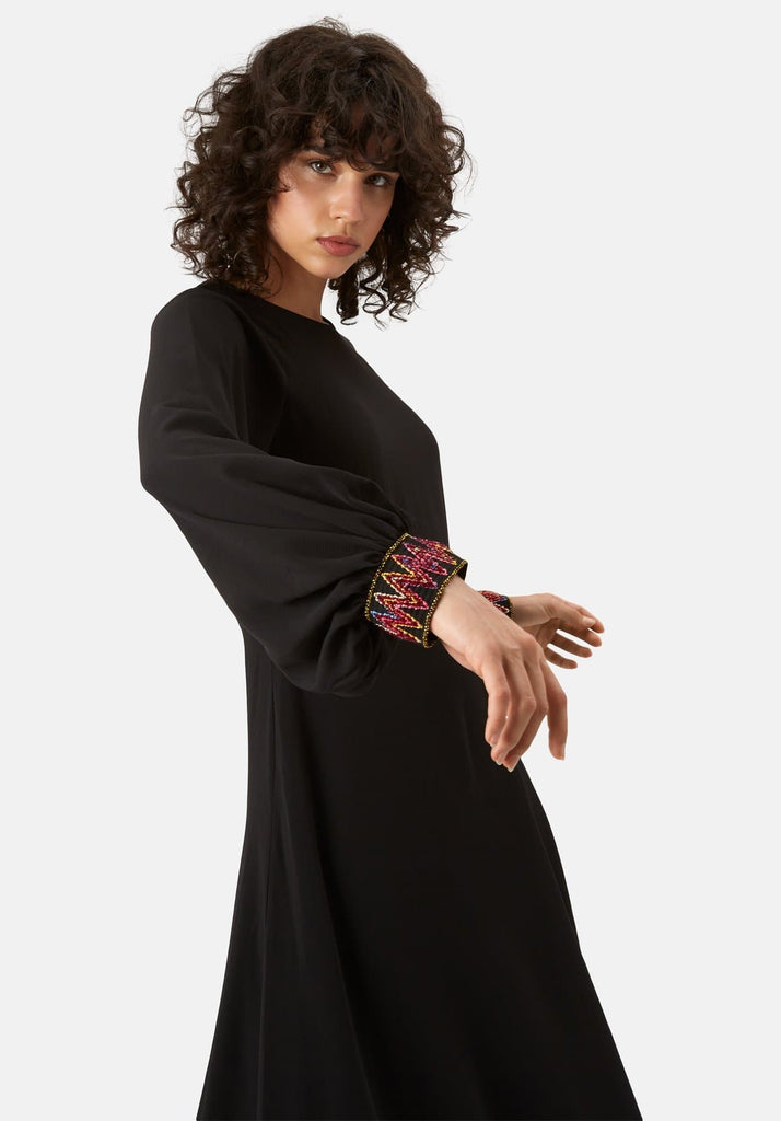 Traffic People On The Cuff Embroidered Midi Dress in Black Back View Image