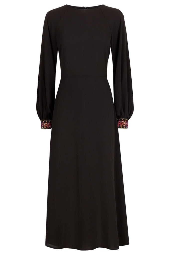 Traffic People On The Cuff Embroidered Midi Dress in Black FlatShot Image