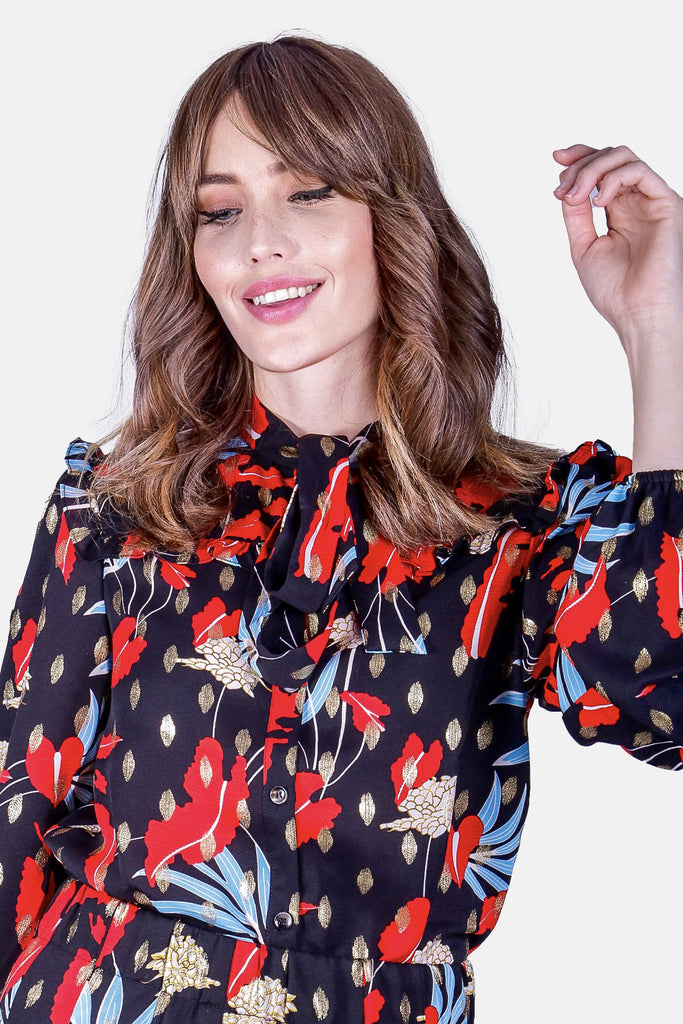 Traffic People Pussy Bow Printed Floral Prairie Shirt in Black Close Up Image