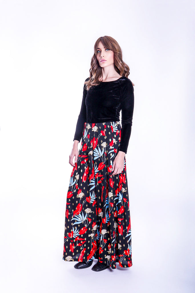 Traffic People Mustique Maggie Wide Leg Palazzo Trousers in Floral Print Front View Image