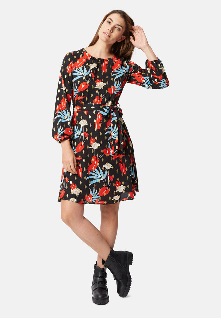 Traffic People Cusp Long Sleeve Mini Dress in Floral Print Front View Image