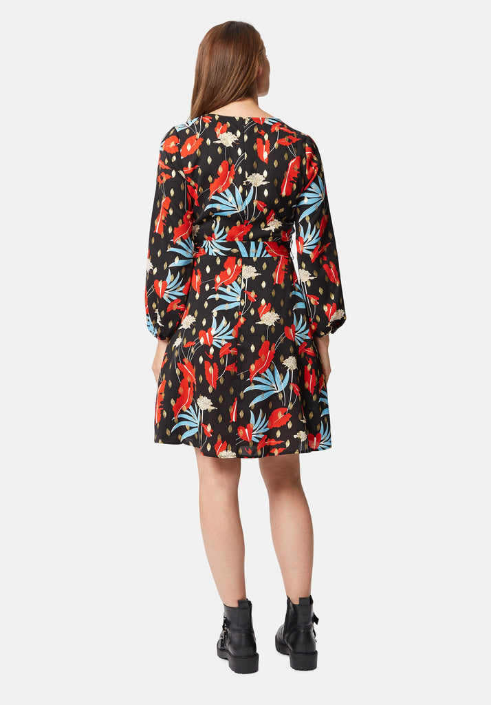 Traffic People Cusp Long Sleeve Mini Dress in Floral Print Side View Image