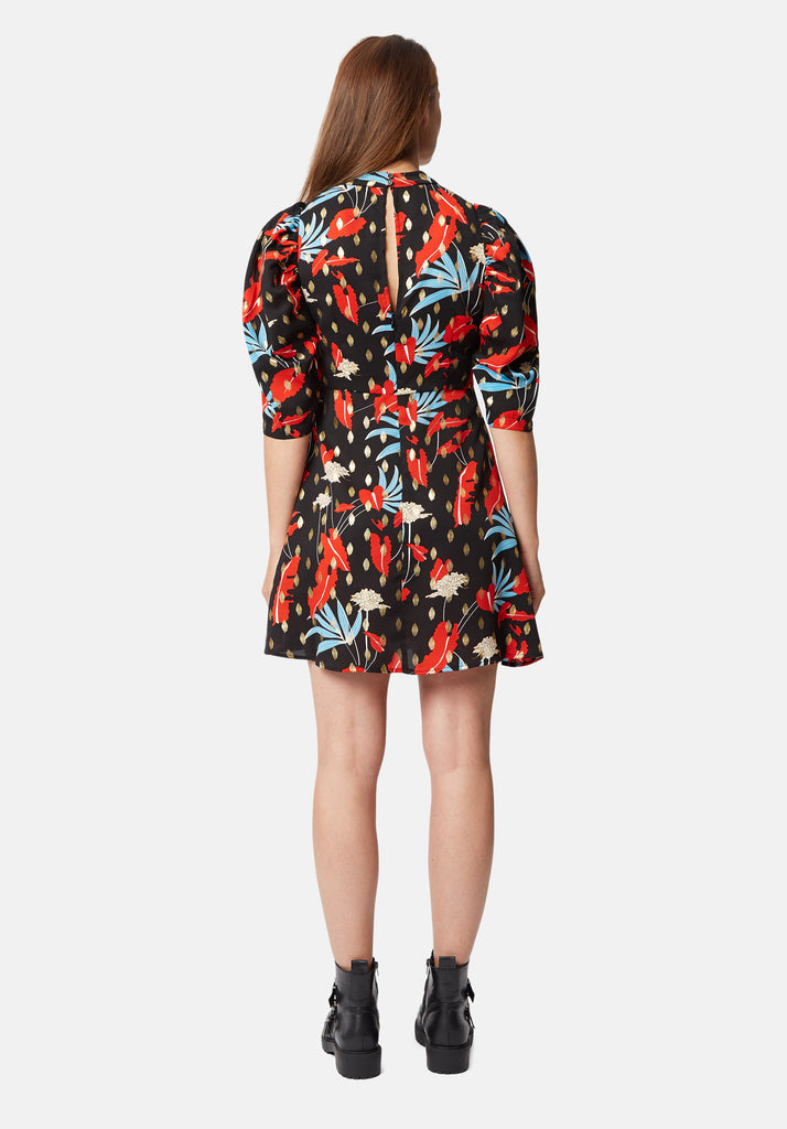 Traffic People Mini Short Sleeve Maybe Dress in Black Floral Print Side View Image