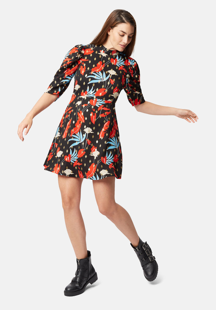 Mini Short Sleeve Maybe Dress in Black Floral Print