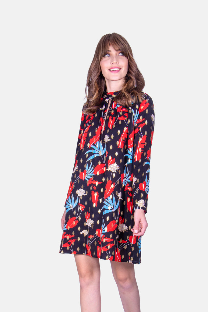 Traffic People Floral Print Mini Shift Glib Dress in Black Front View Image