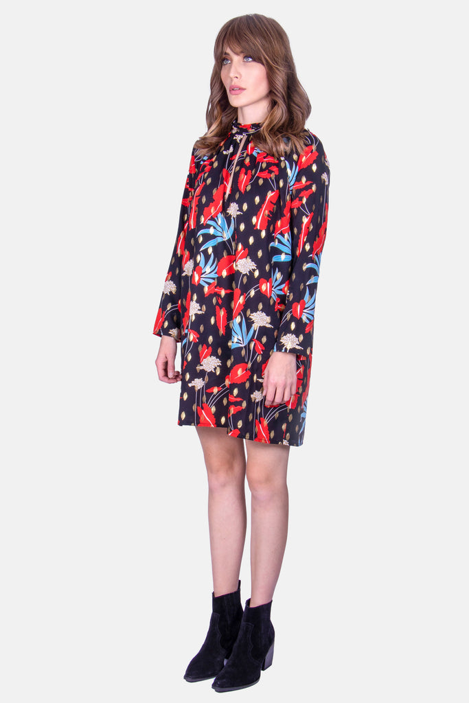 Traffic People Floral Print Mini Shift Glib Dress in Black Side View Image