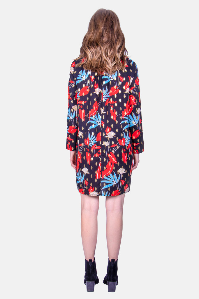Traffic People Floral Print Mini Shift Glib Dress in Black Close Up Image