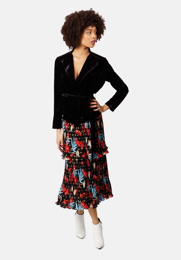Traffic People Mustique Maggie Rara Midi Skirt in Black Floral Print Close Up Image