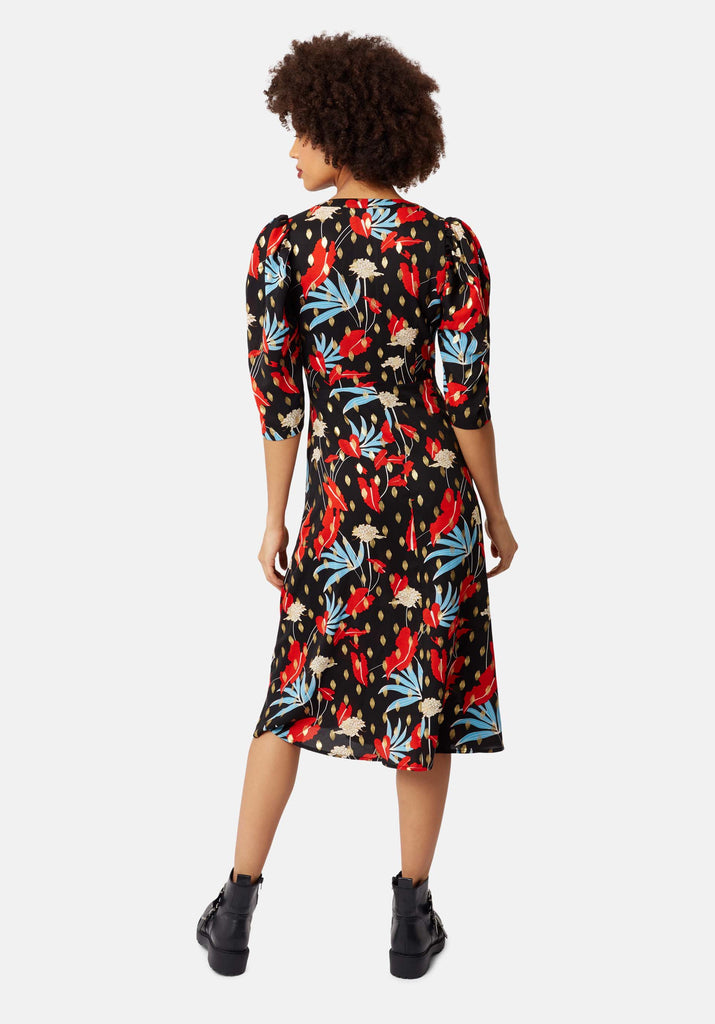 Traffic People V-Neck Floral Print Fever Dress in Black Side View Image