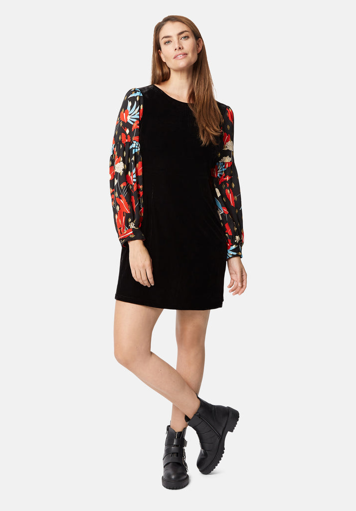 Traffic People Colby Velvet Floral Print Mini Dress in Black Front View Image