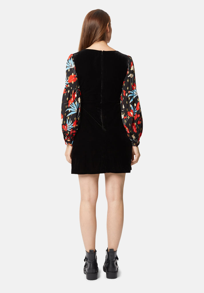 Traffic People Colby Velvet Floral Print Mini Dress in Black Side View Image