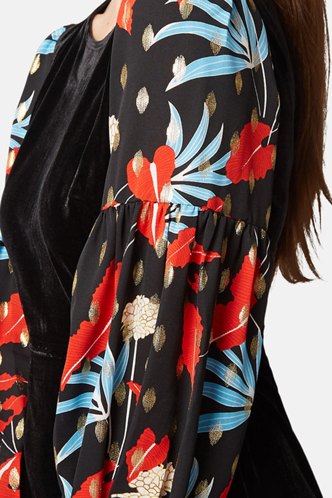 Traffic People Colby Velvet Floral Print Mini Dress in Black Close Up Image