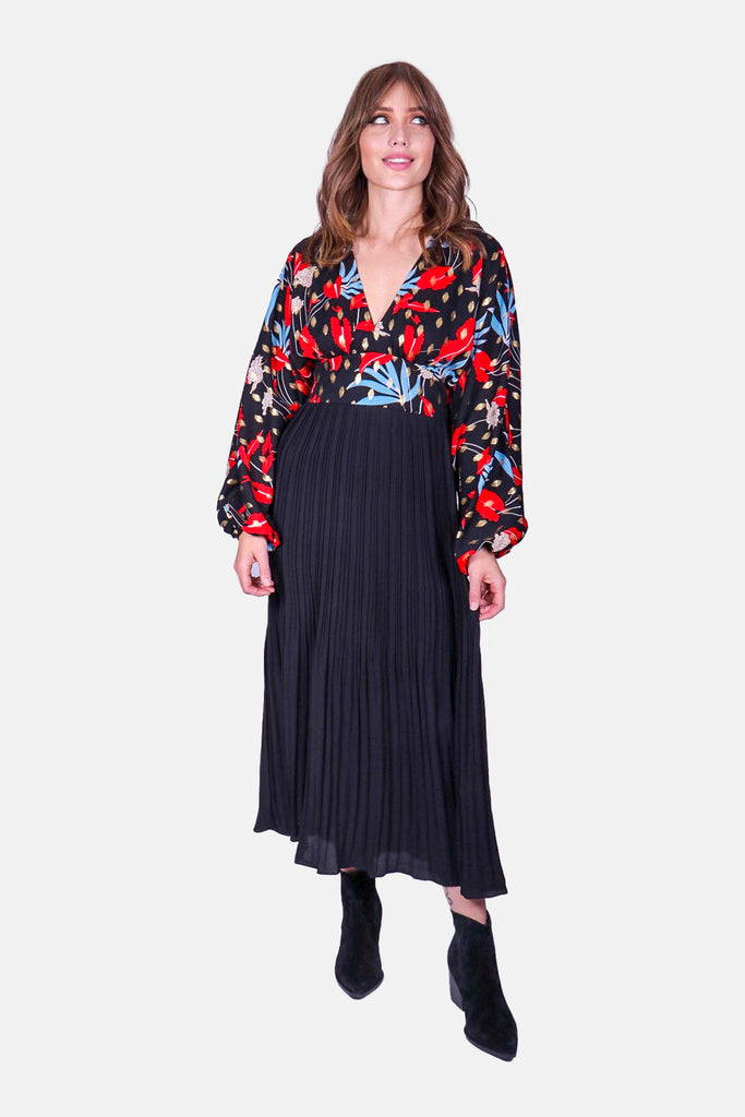 Traffic People Caution Long Sleeve Midi Dress in Black Floral Print Front View Image