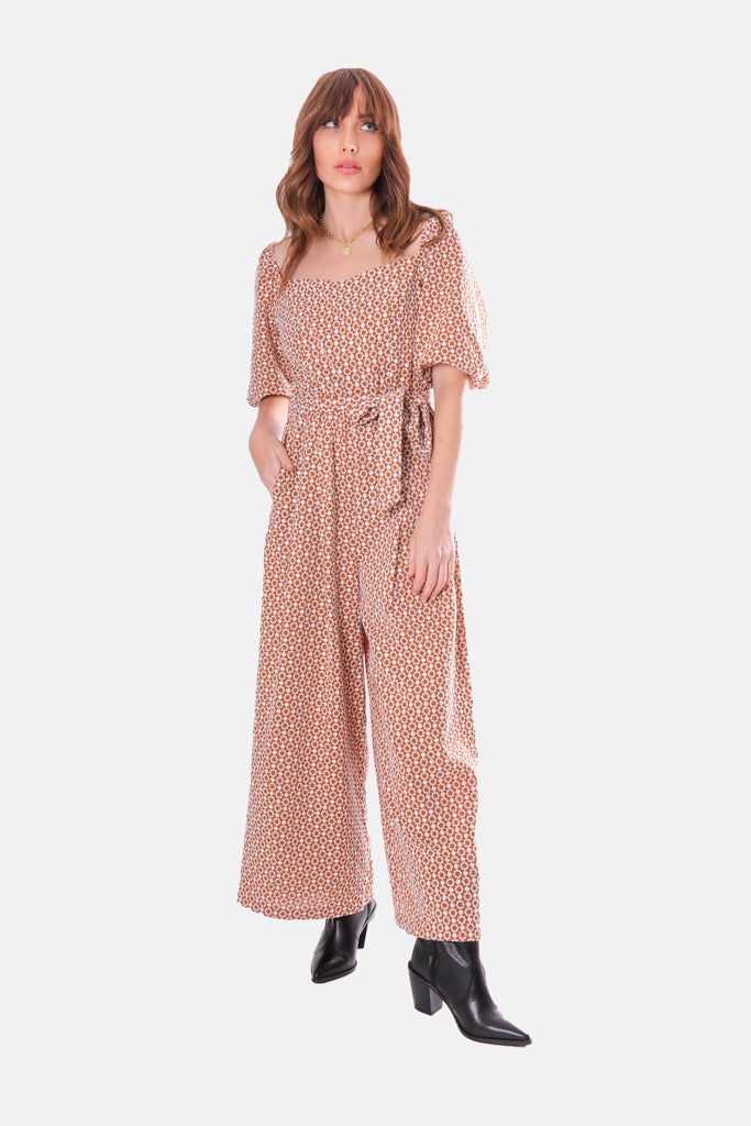 Traffic People Embroidered Floral Dandy Jumpsuit in Brown Close Up Image