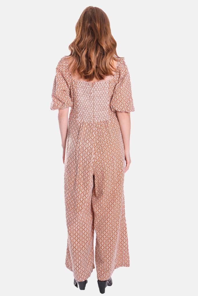 Embroidered Floral Dandy Jumpsuit in Brown
