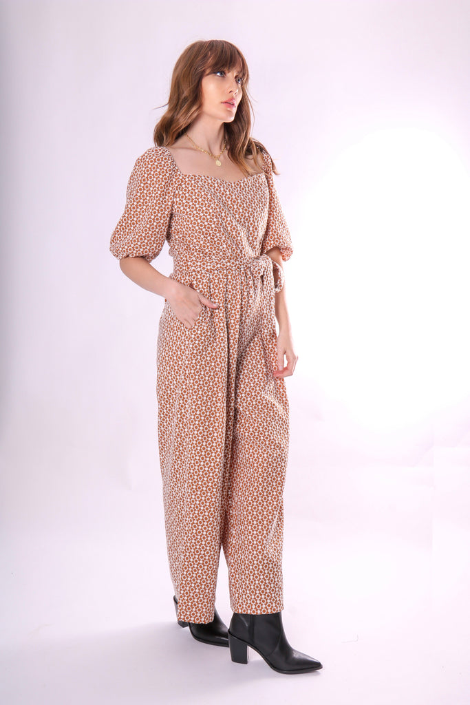 Traffic People Embroidered Floral Dandy Jumpsuit in Brown Side View Image