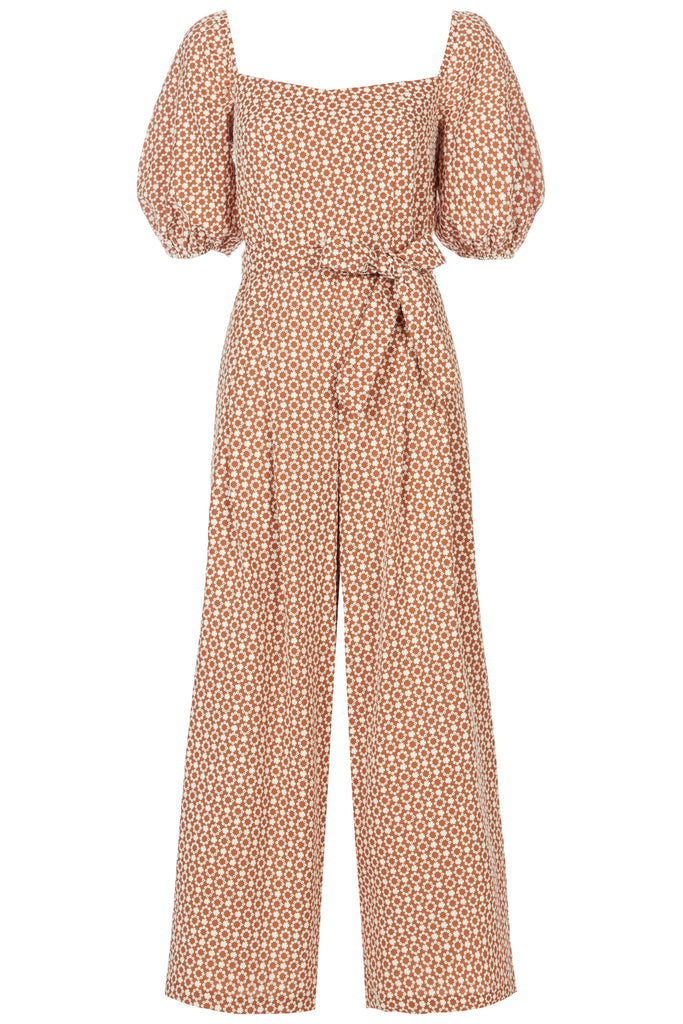 Traffic People Embroidered Floral Dandy Jumpsuit in Brown FlatShot Image