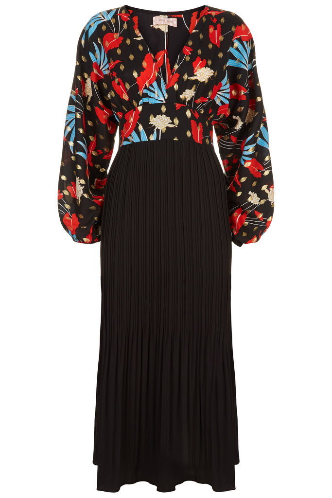 Traffic People Caution Long Sleeve Midi Dress in Black Floral Print FlatShot Image
