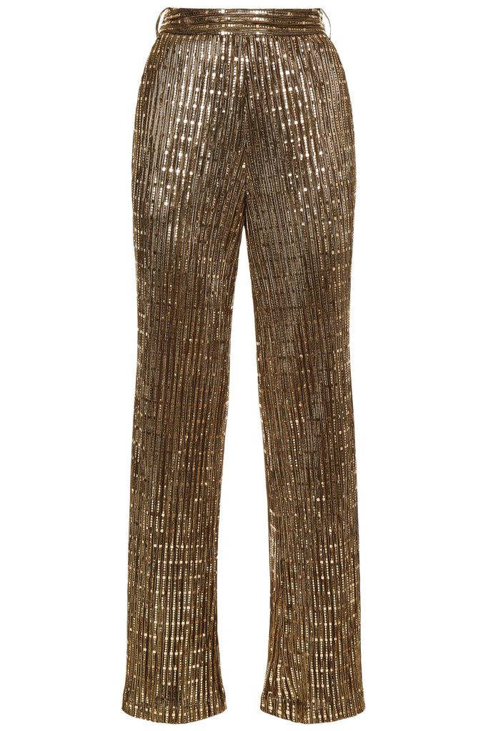 Traffic People MacArthur Park Straight Leg Sequin Trousers in Bronze FlatShot Image